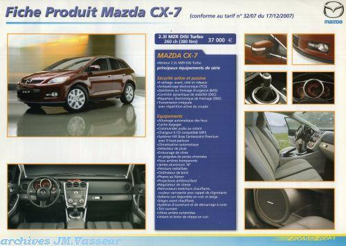 Mazda CX-7 : Caractéristiques techniques, Équipements de série et Tarifs