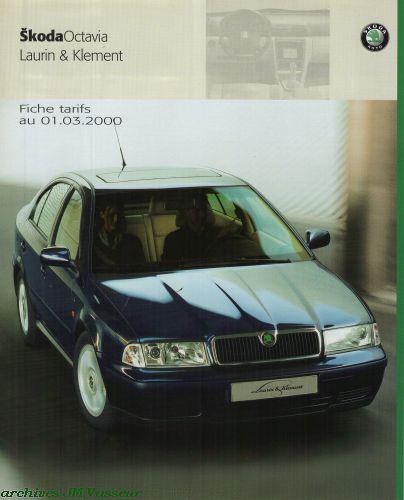 Škoda Octavia LAURIN & KLEMENT : Tarifs 01.03.2000
