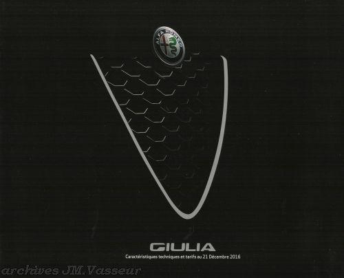 Alfa Romeo Giulia : Caractéristiques techniques, Équipements et Tarifs