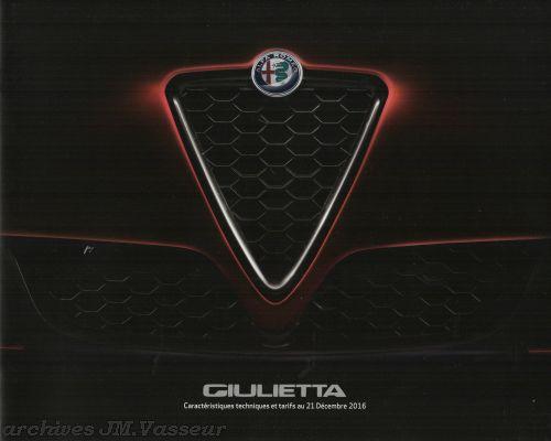 Alfa Romeo Giulietta : Caractéristiques techniques, Équipements et Tarifs